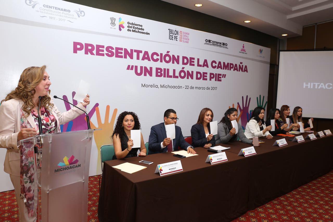 """Presentan en Michoacán campaña contra la trata """"Un Billón de Pie"""""""