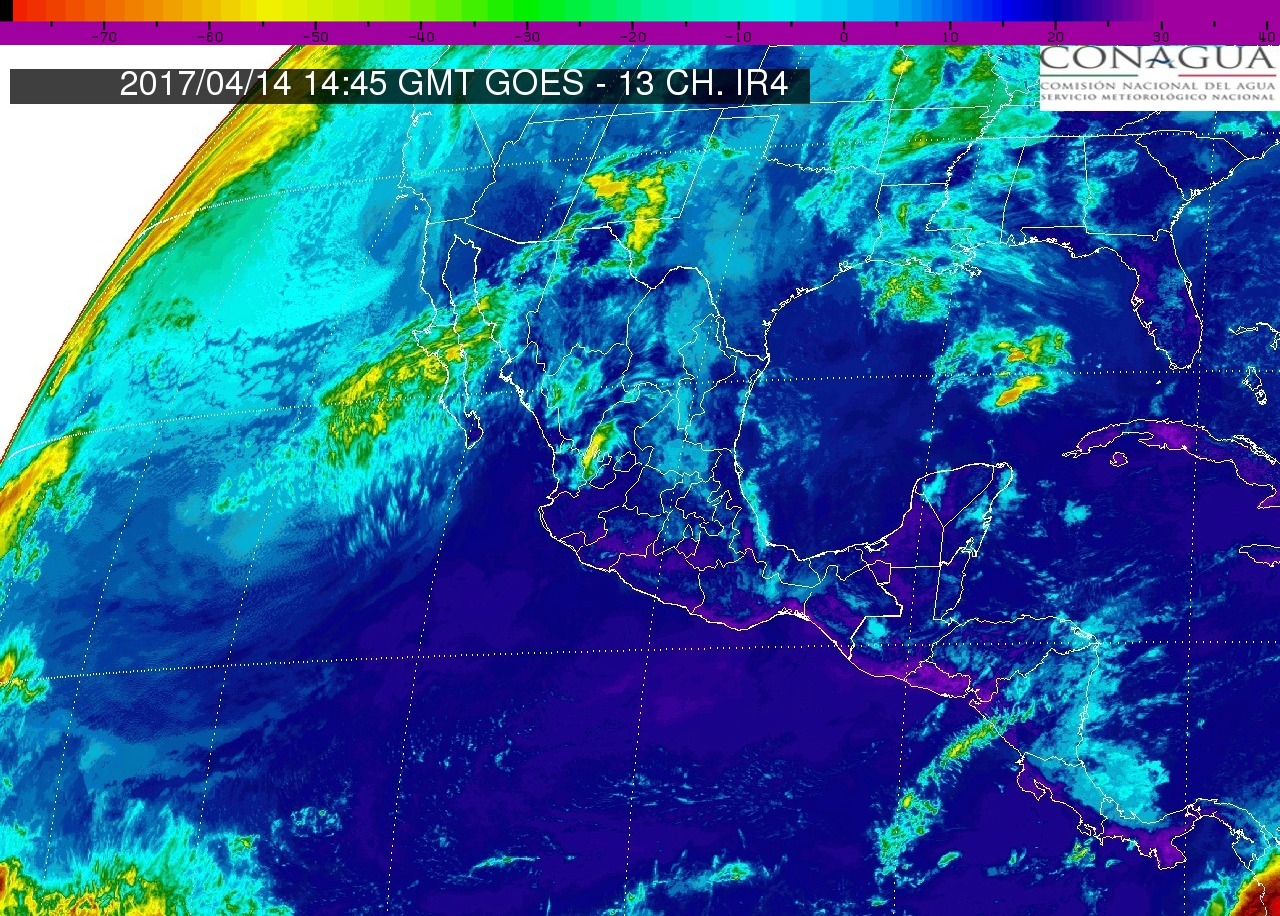 Pacífico Centro: Cielo parcialmente nublado. Lloviznas en Michoacán. Bancos de niebla matutina sobre el occidente de la región. Ambiente muy caluroso. Viento del oeste y noroeste de 15 a 30 km/h