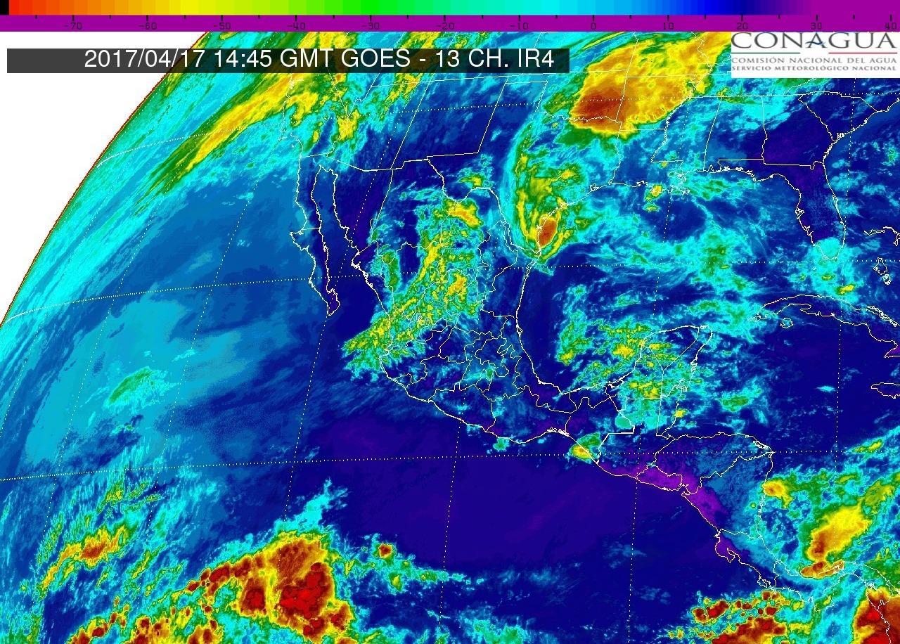 En Michoacán y en el Pacífico Centro: Cielo despejado a medio nublado. Ambiente muy caluroso. Viento del oeste y noroeste de 15 a 25 km/h