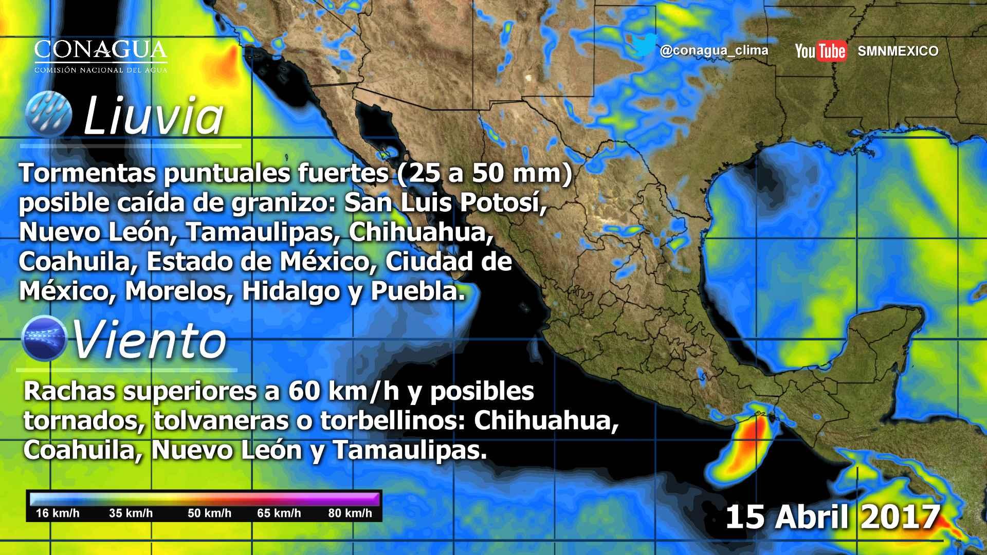 Pacífico Centro: Cielo parcialmente nublado. Lloviznas en Michoacán. Bancos de niebla matutina. Ambiente muy caluroso. Viento del oeste y noroeste de 15 a 30 km/h