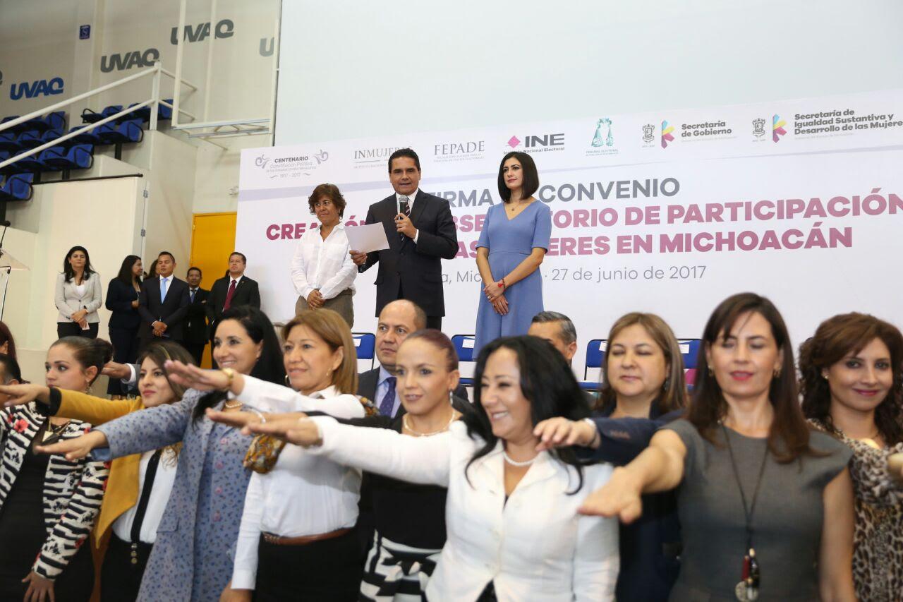 Silvano Aureoles, firma de convenio para la creación del Observatorio de Participación Política de las Mujeres