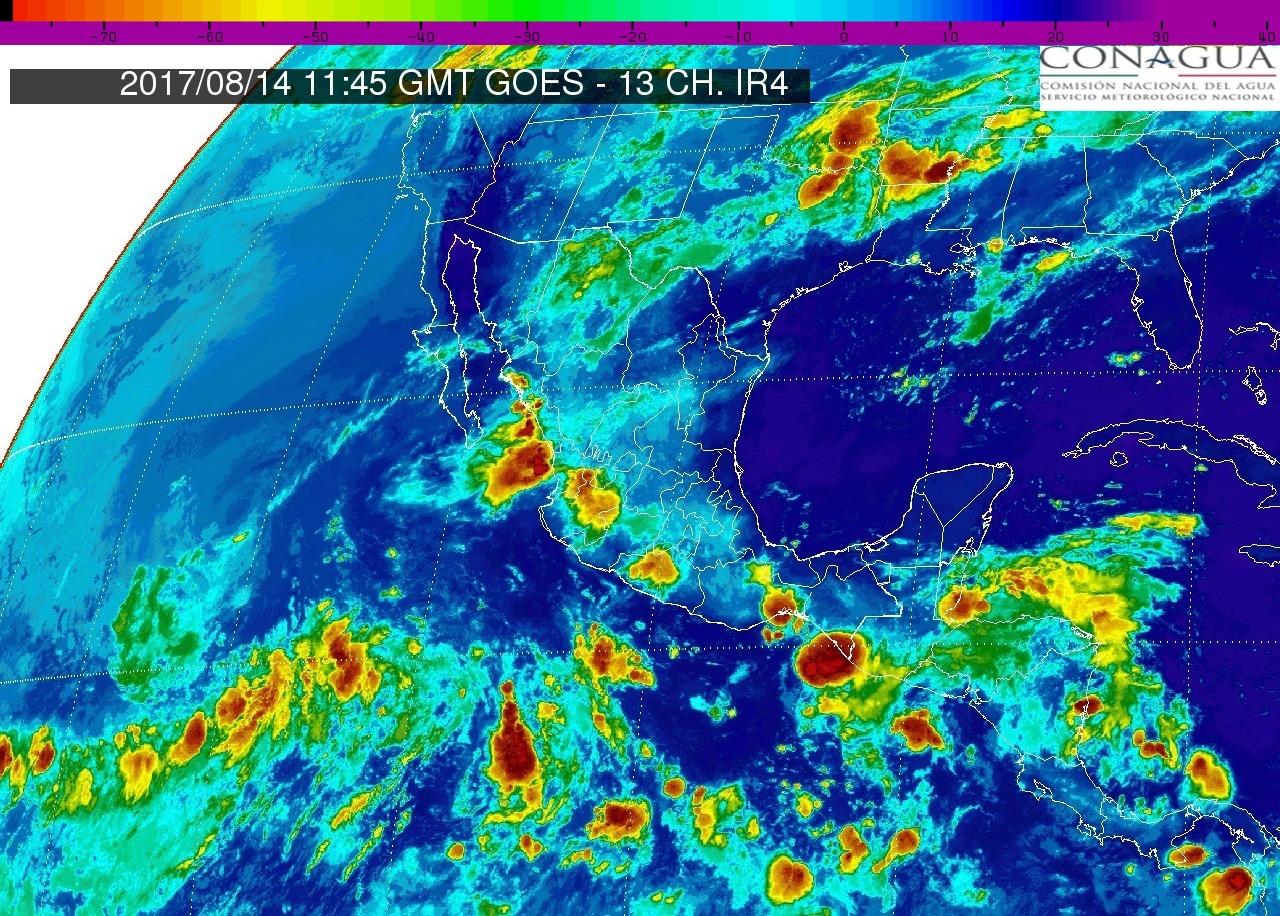 Onda tropical N° 25 ocasionará intervalos de chubascos con tormentas puntuales fuertes (25 a 50 mm) en Michoacán, hoy 14 de agosto