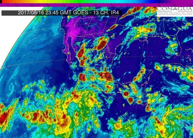 Esta noche de miércoles, se prevén tormentas puntuales muy fuertes acompañadas de actividad eléctrica en Michoacán