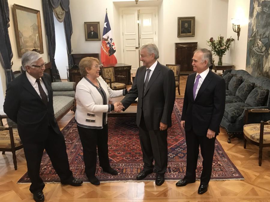 AMLO se reúne con la presidenta de Chile, Michelle Bachelet