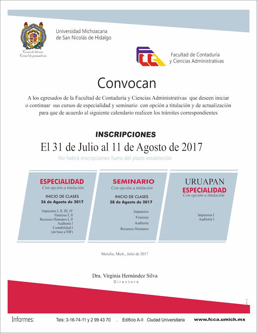 Inscripciones en FCCA de la UMSNH para cursos de especialidad y seminario   con opción a titulación y de actualización