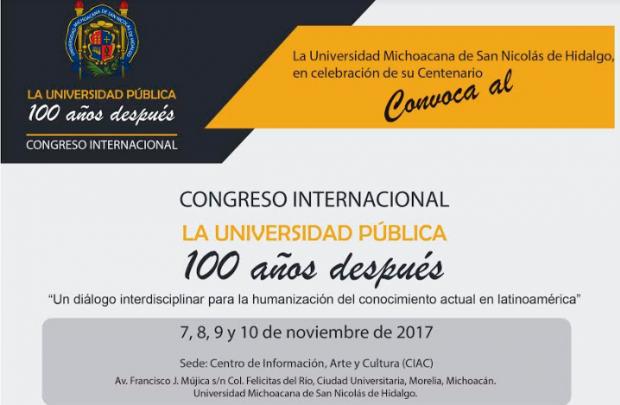 Organiza UMSNH Congreso Internacional por sus cien años de historia como institución de educación pública