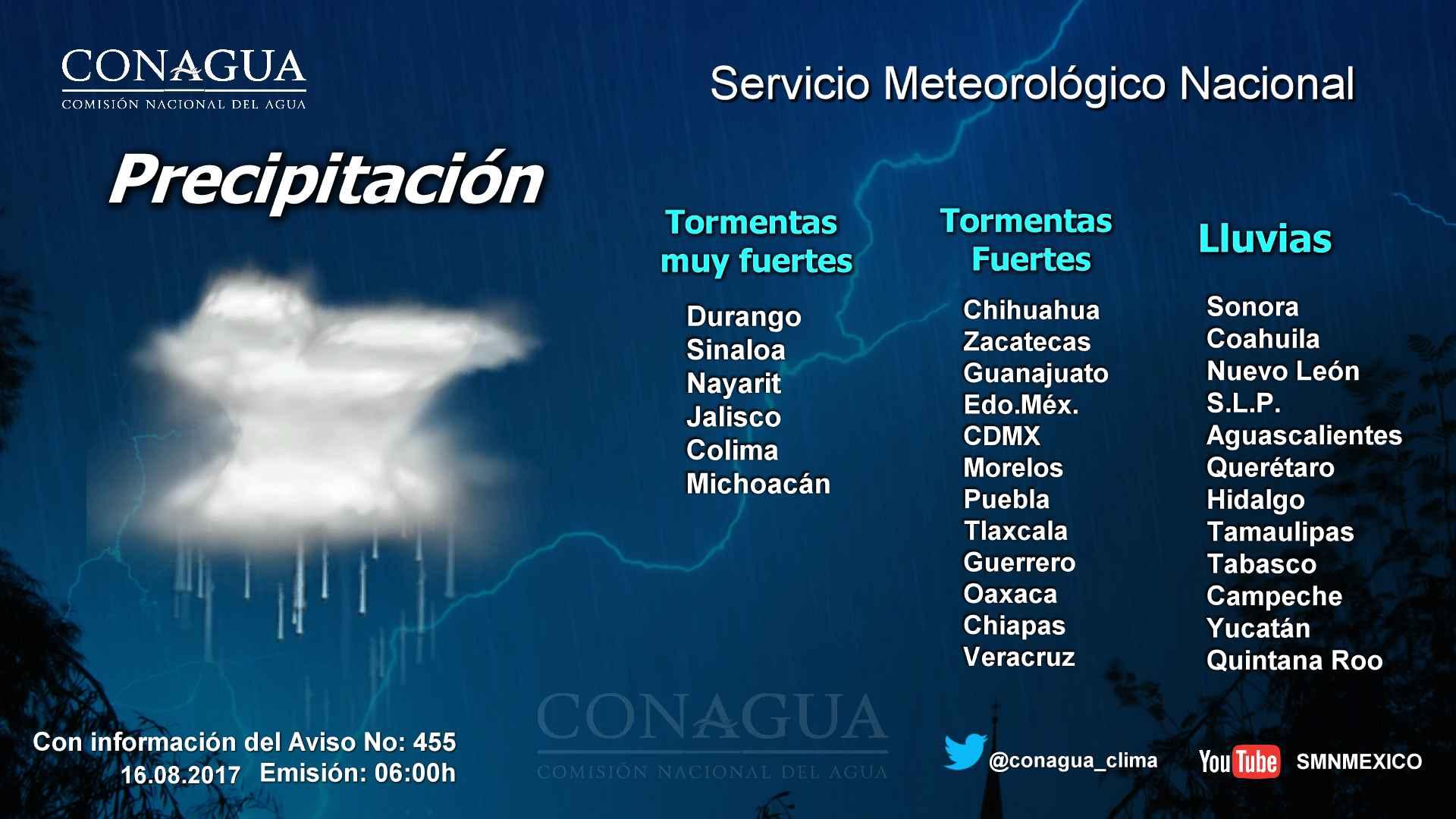 Tormentas fuertes con puntuales muy fuertes (50 a 75 mm) en Michoacán, este miércoles