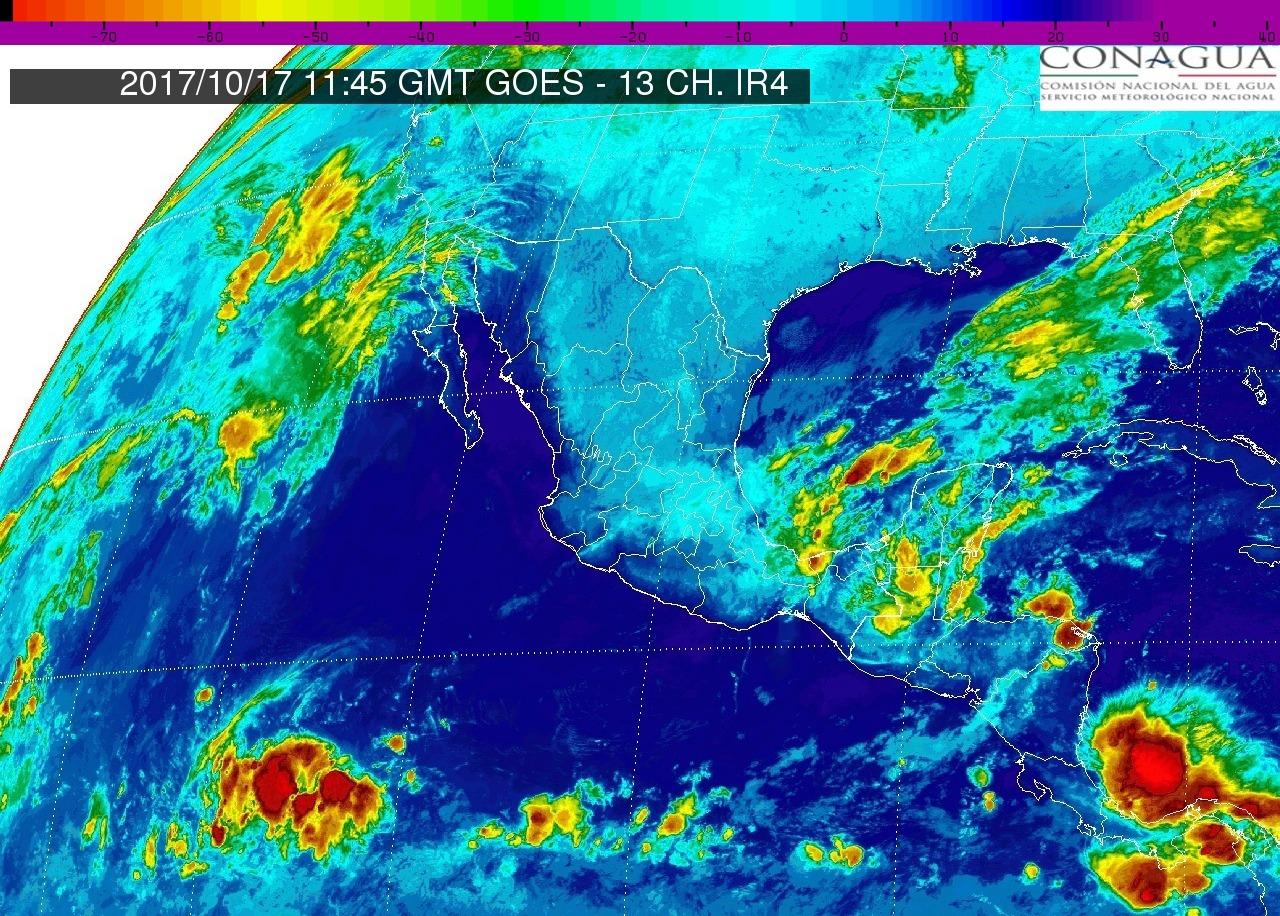 Cielo medio nublado, lluvias con intervalos de chubascos en Michoacán. Ambiente caluroso durante el día y viento de dirección variable.