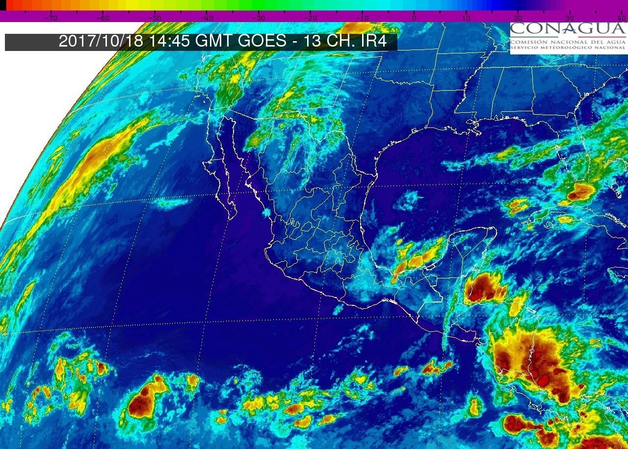 Cielo medio nublado, lluvias con intervalos de chubascos en Michoacán. Ambiente caluroso durante el día y viento de dirección variable de 15 a 30 km/h