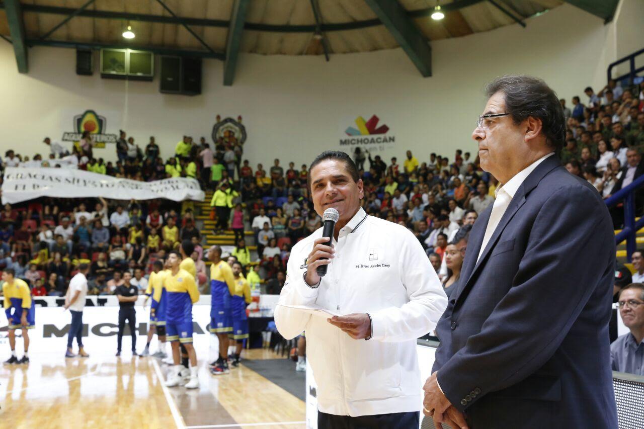 Inaugura Silvano Aureoles primera temporada de Aguacateros de Michoacán en la LNBP
