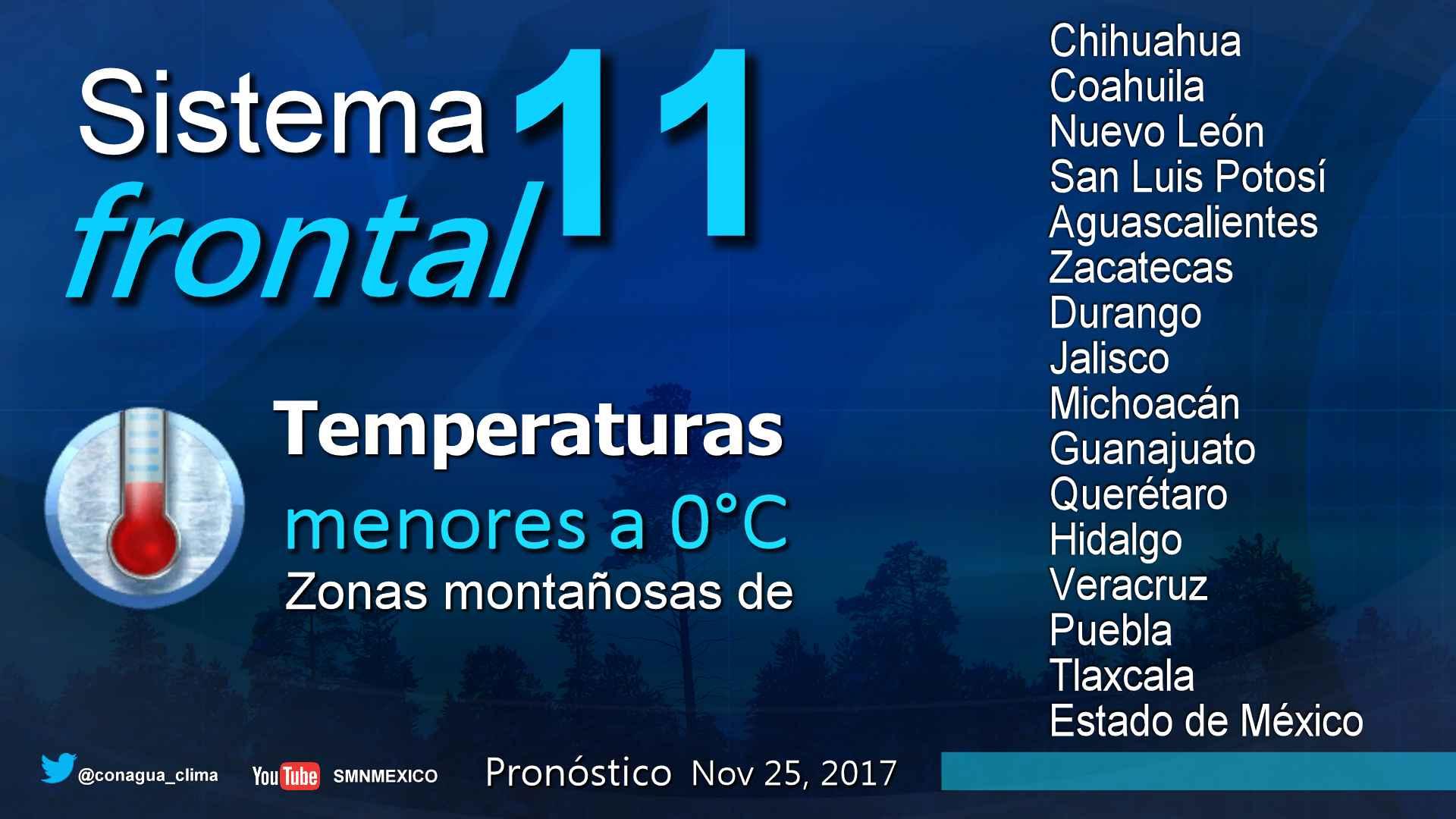 Este sábado ambiente seco y frío continuará sobre la mayor parte de la República Mexicana