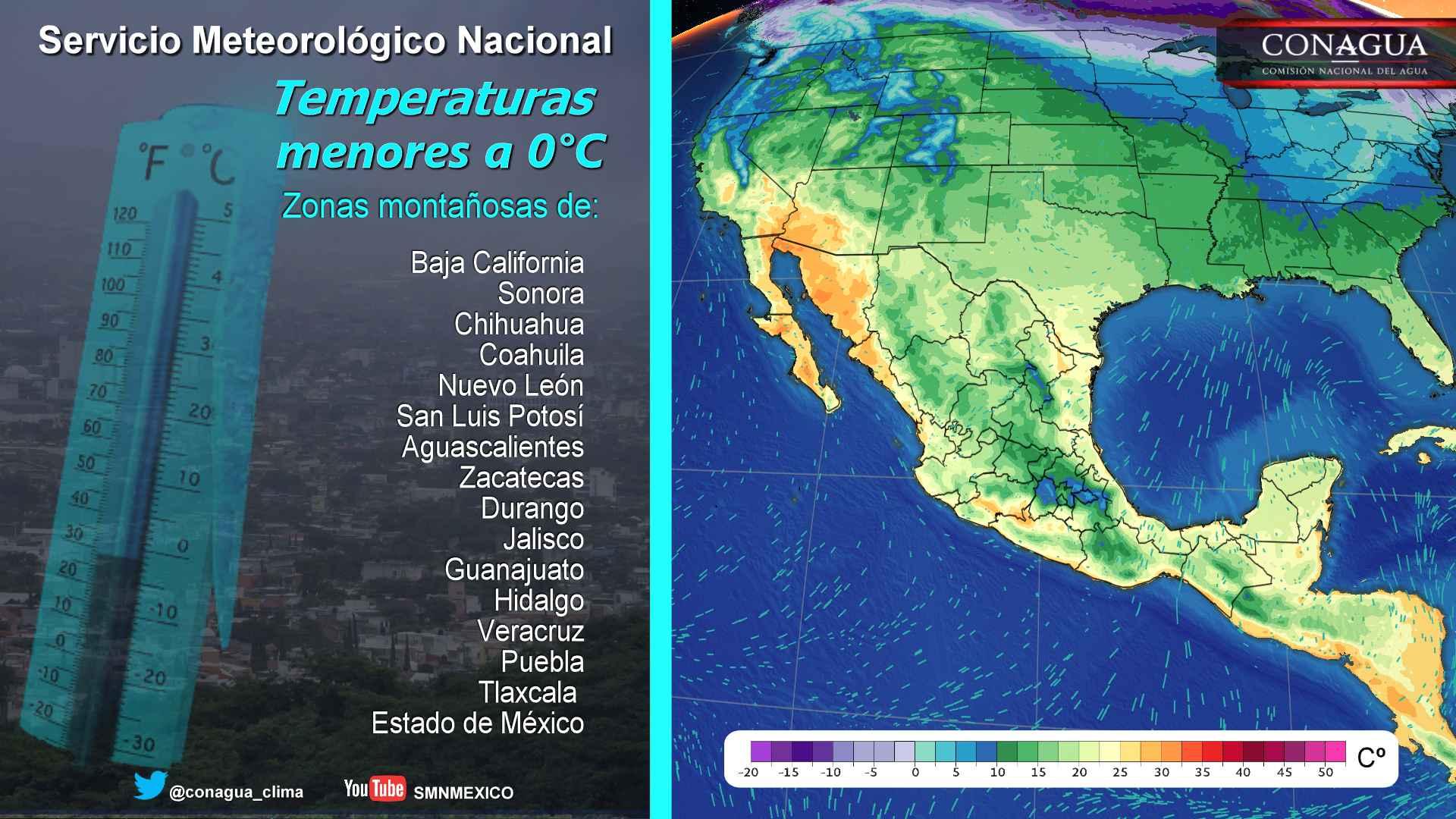 Se mantiene ambiente seco y muy frío durante esta noche de domingo y madrugada sobre la mayor parte de México