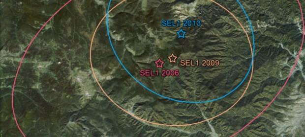 rchivo: Cortesía del Centro de Datos de CTBTO Zona de ensayos nucleares de Corea del Norte.