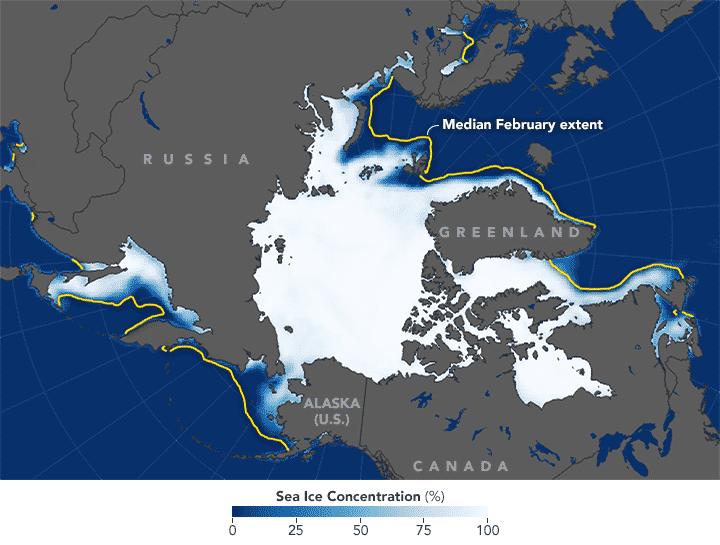 Extensión de hielo en febrero promedió 13.95 millones de kilómetros cuadrados, 1.35 millones de kilómetros cuadrados por debajo del promedio de 1981-2010