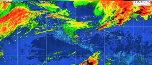 Lloviznas aisladas (0.1 a 5 mm) en Michoacán; y temperaturas máximas de 40 a 45°C en algunas zonas