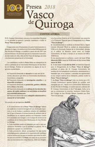 UMSNH invita a postular candidatos a la Presea Vasco de Quiroga