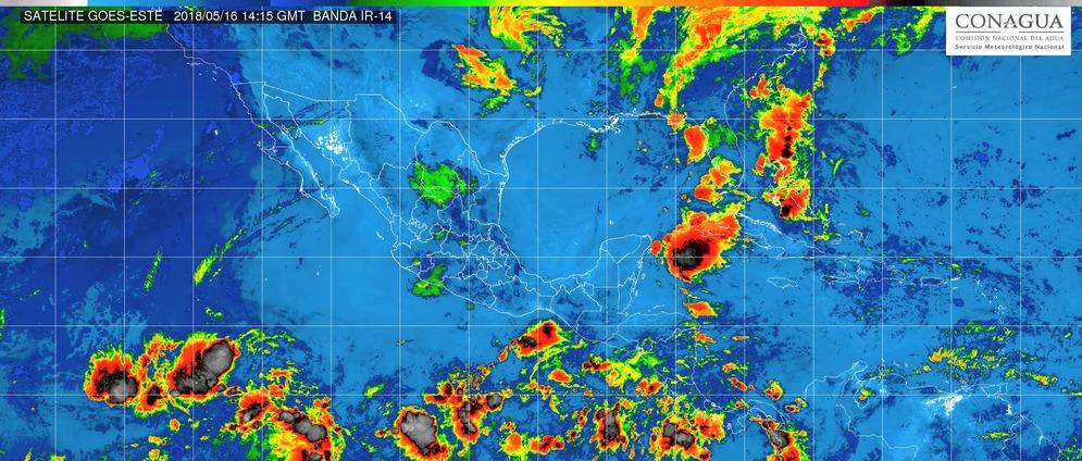 Intervalos de chubascos con tormentas puntuales fuertes (25 a 50 mm) en Michoacán, este miércoles