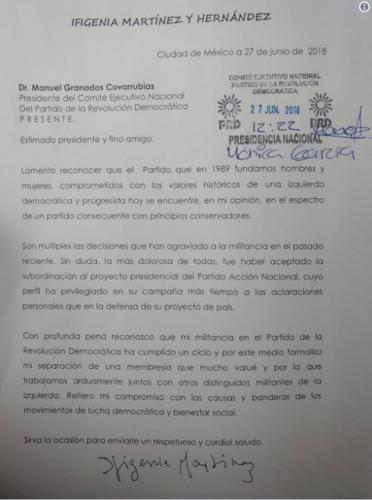 También la maestra Ifigenia Martínez, renuncia al PRD
