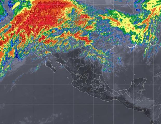 Pacífico Centro: Cielo parcialmente nublado, ambiente caluroso durante el día y viento del oeste de 10 a 25 km/h.