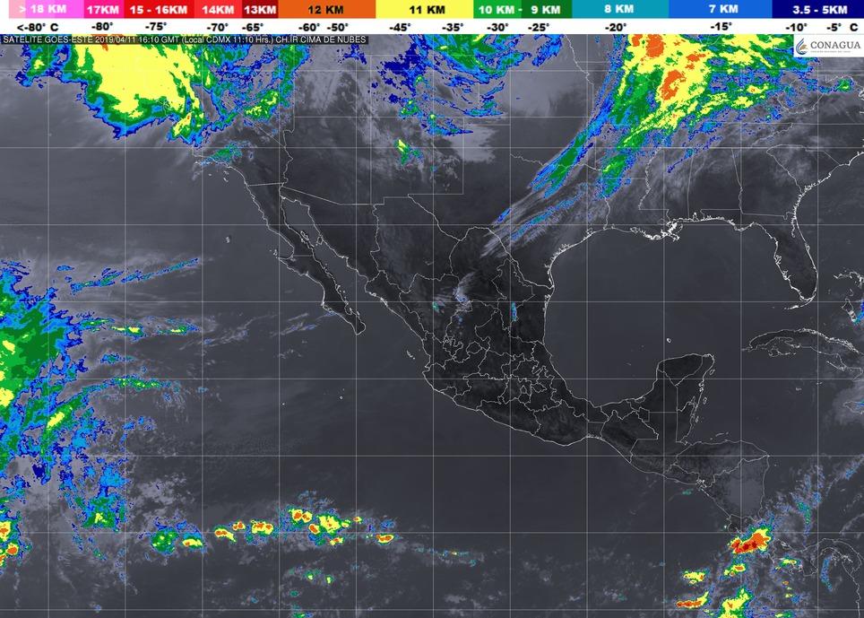 Cielo despejado y ambiente caluroso durante el día. Viento del oeste de 10 a 25 km/h con rachas de 40 km/h en Michoacán este jueves
