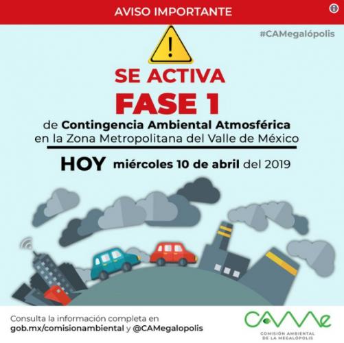 Activan Fase 1 de Contingencia Ambiental Atmosférica por Ozono en la Zona Metropolitana del Valle de México