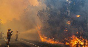 Servicio de bomberos y emergencias de Queenslad Bomberos en Queensland, Australia, se enfrentan a un incendio que amenaza una población